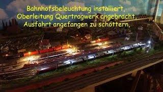 Spur N Modellbahn, heute Bahnhofs Beleuchtung installiert, Ausfahrt angefangen zu schottern,