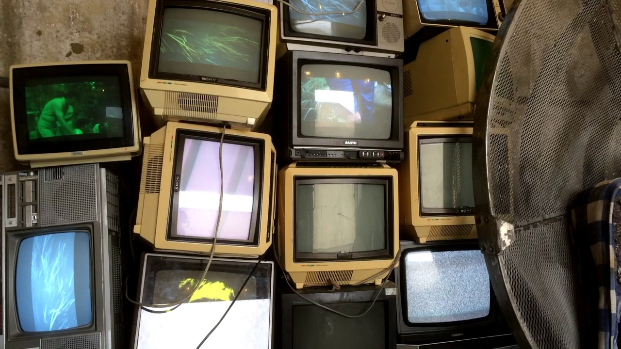vintage tv installation grunge retro televisions for fashion shoot