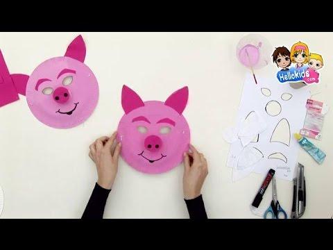 Bricolage carnaval masque de cochon rose hellokids - Queue de cochon outil ...