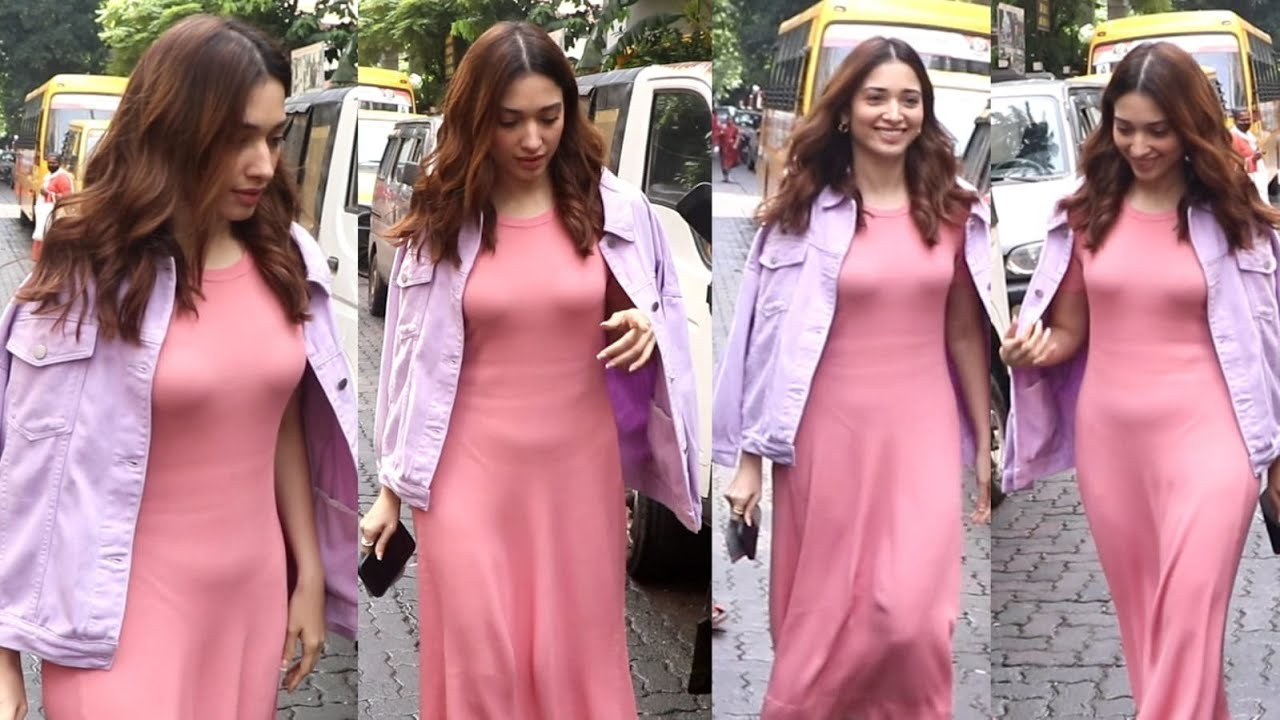 Tamanna Bhatia Eyecatching Look in Pink Bodycon Dress at Outside Maddock Office