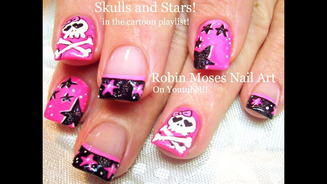 Fun Nails Diy Stars Skull Nail Art Design Neon Pink Black And White Tutorial