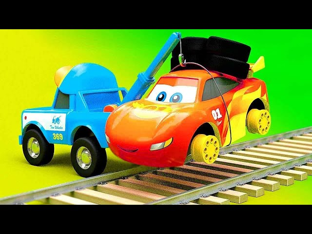 Railroad Cars Stories Mack Transporter Truck, McQueen Friends in Trouble, Police Chase new cartoons