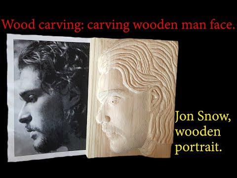 Wood Carving : Carving Wooden Man Face. Jon Snow Wooden Portrait.