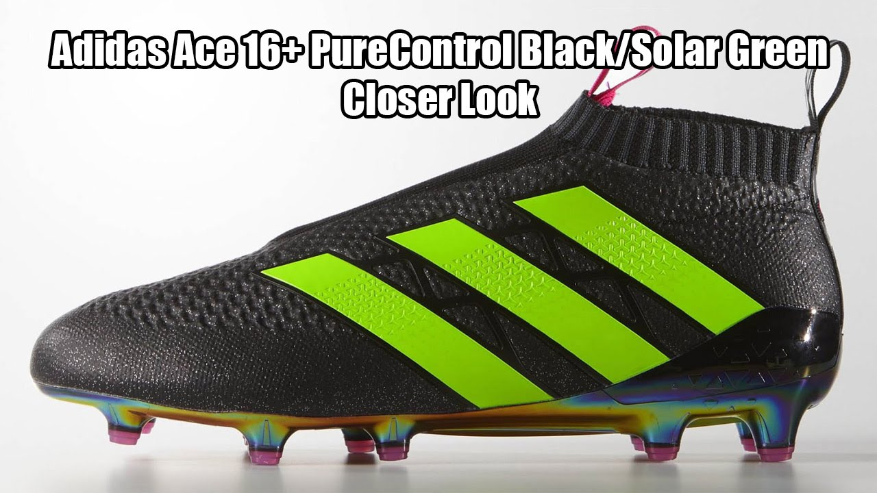 best authentic 2755d ad25e Adidas Ace 16+ PureControl Black Solar Green Closer Look