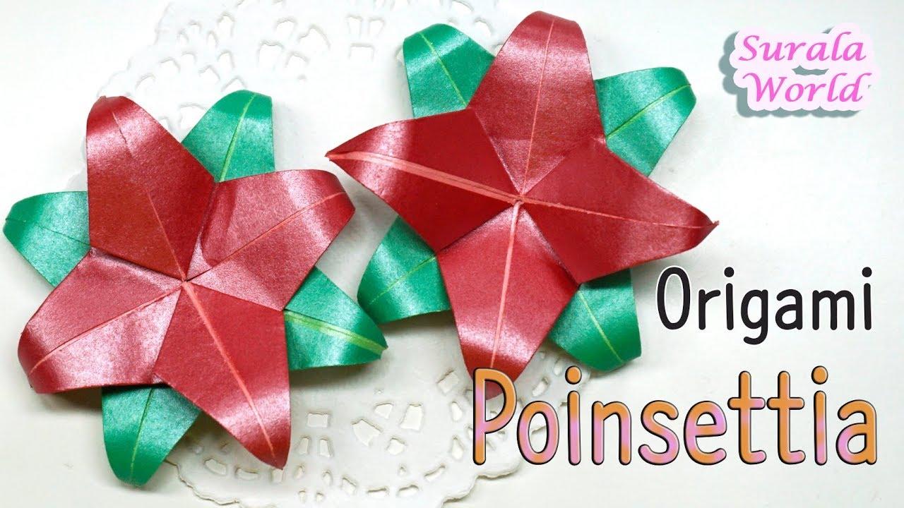 Origami Christmas Flower Poinsettia Youtube Psychologyarticlesfo