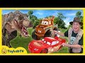 T-rex Dinosaur Chase & Cars Toy Hunt! Disney Pixar Cars 3 Lightning Mcqueen Surprise Toys Kids Truck video