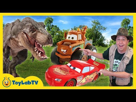 T-REX DINOSAUR CHASE & CARS TOY HUNT! Disney Pixar Cars 3 Lightning McQueen Surprise Toys Kids Truck
