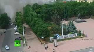 Video: Avión de combate ataca la administración de Lugansk