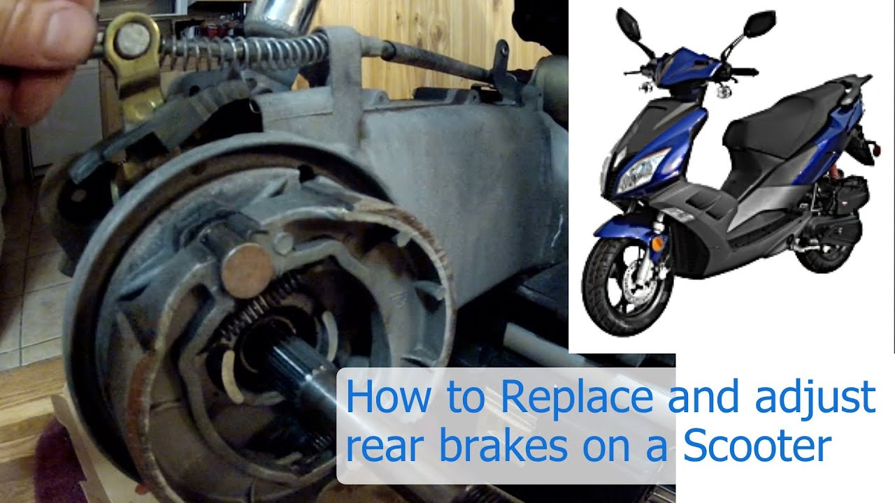 how to replace and adjust the rear brakes on a 150 or 50 cc gy6 chinese scooter [ 1280 x 720 Pixel ]
