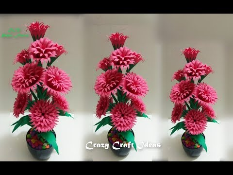 How to make paper  flowers || Very easy paper flowers decoration  || DIY Paper Flowers Making.