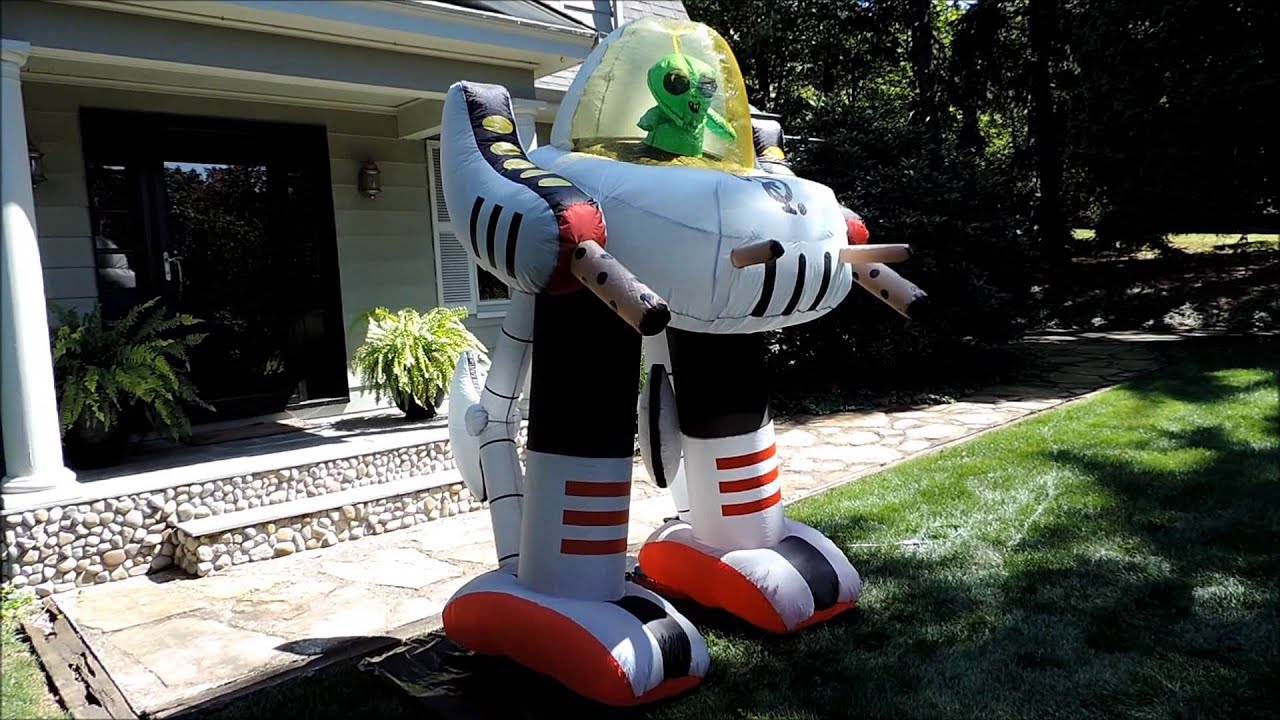 Morbid airblown halloween inflatable lighted alien robot for Robotic halloween decorations