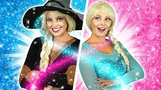 PRINCESSES HALLOWEEN PARTY. (Which Frozen Sister Turns into a Witch?) Totally TV Parody