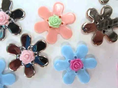 resin flower mix colors flatback applique wholesale craft supplies WholesaleSarong.com