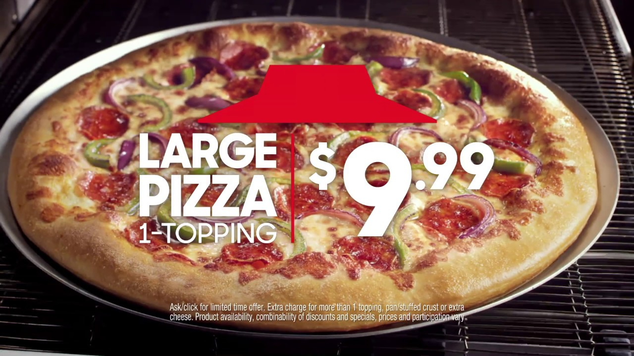 Get $9.99 LARGE 1-Topping Pizzas Online Today