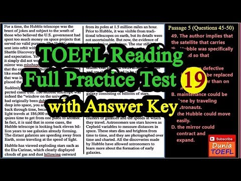 TOEFL Reading Full Practice Test 19 with Answers and Explanations