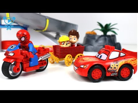 Thumbnail: Cars 3 McQueen & Spiderman rescue paw patrol - Lego Duplo Cars 3 Toys Cartoon in Stop Motion 4K