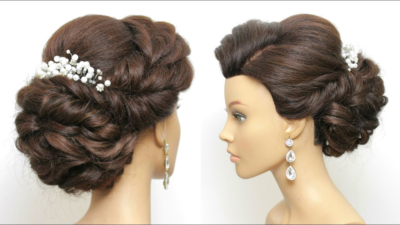 updo hairstyles: low messy bun for prom, wedding.