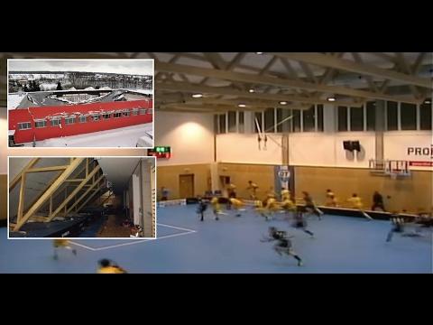 , Обрушение крыши во время матча по флорболу попало на видео, LIKE-A.RU