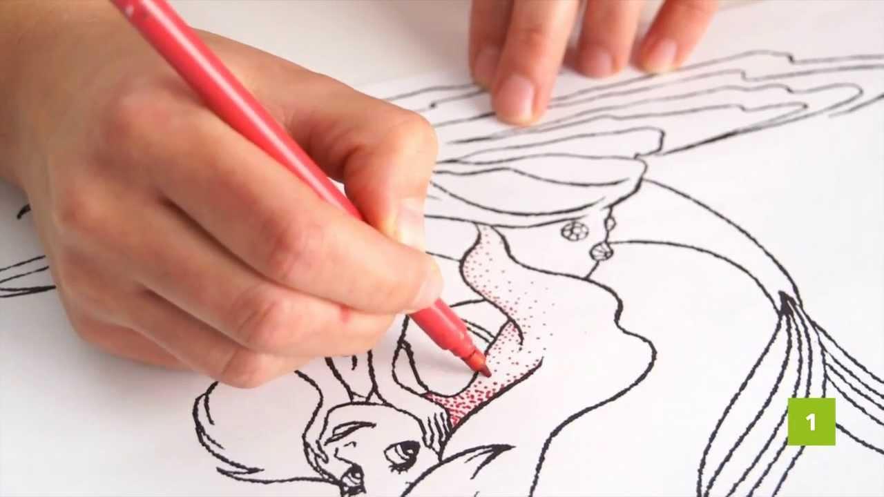Colorare disegni per bambini la tecnica dei puntini youtube for Sole disegno da colorare