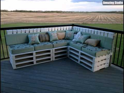 veranda gestaltung m bel paletten ecksofa gr ne polster kissen youtube. Black Bedroom Furniture Sets. Home Design Ideas