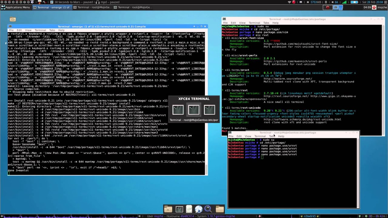 Full Gentoo Install Tutorial - pt 3 - URxvt, Zsh, Fonts, Awesome