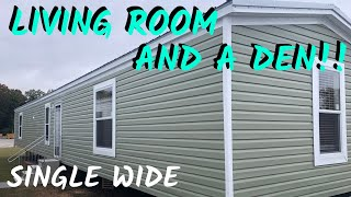 Single Wide Mobile Home with a Living Room and a Den!! 16x80 3 bed 2 bath Mobile Home Tour.