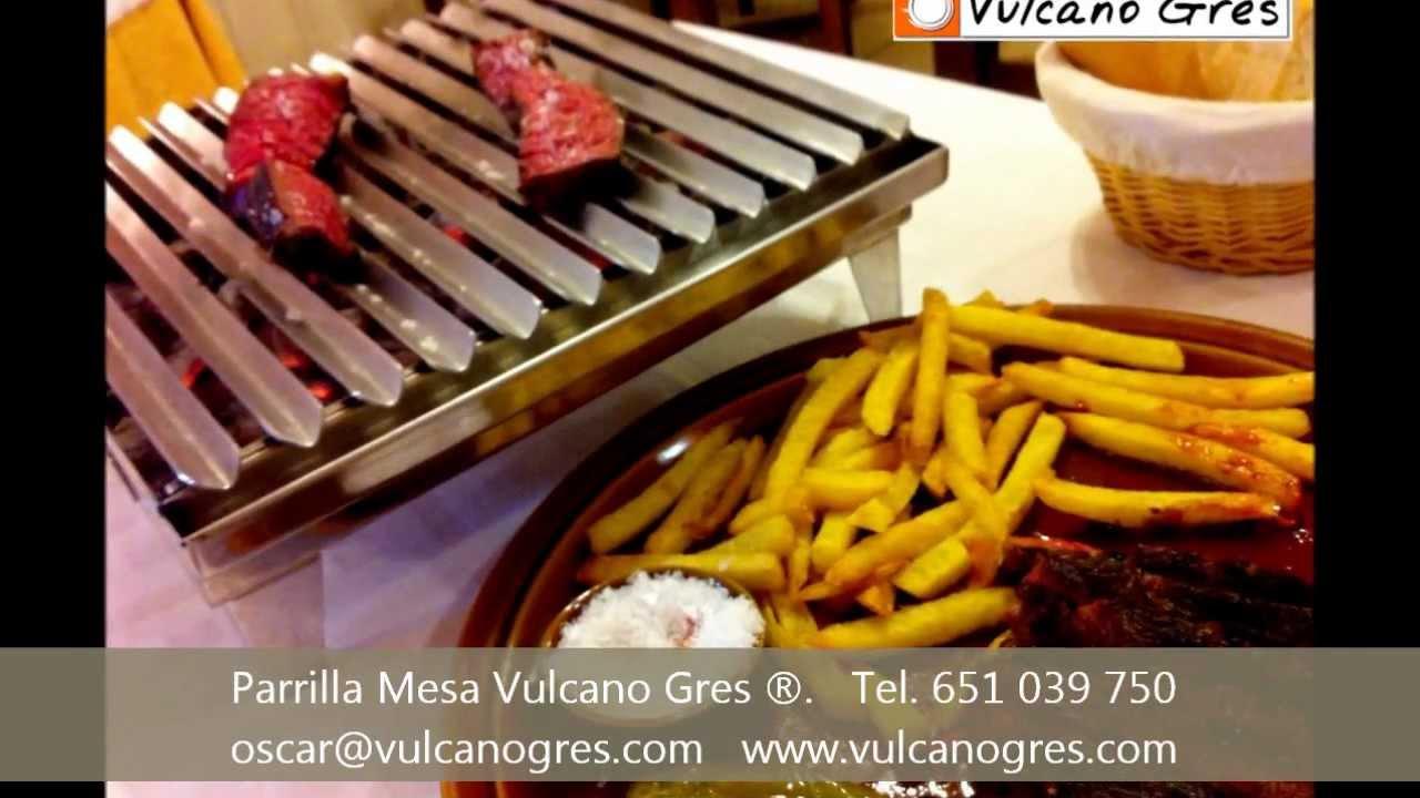 Parrilla portatil inox de mesa vulcano gres carne a la - Parrilla de la vanguardia ...