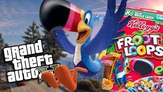 "GTA 5 Mods - FROOT LOOPS ""TOUCAN SAM"" MOD (GTA 5 Mods Gameplay) thumbnail"
