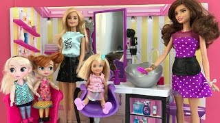 Hair Salon! Elsa Anna & Barbie visit the Hair Dresser after Anna gives Chelsea a Hair Cut!