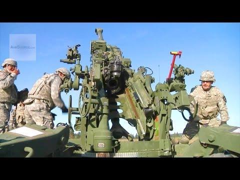 Army Artillerymen M777 Howitzer Live Fire Exercise
