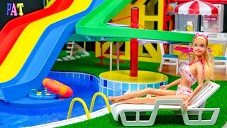 DIY Miniature Swimming Pool ~ Water Park, WATER SLIDE for barbie dolls