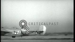 B-24 bombers of  the US Air Force take off for bombardment of enemy positions, at...HD Stock Footage