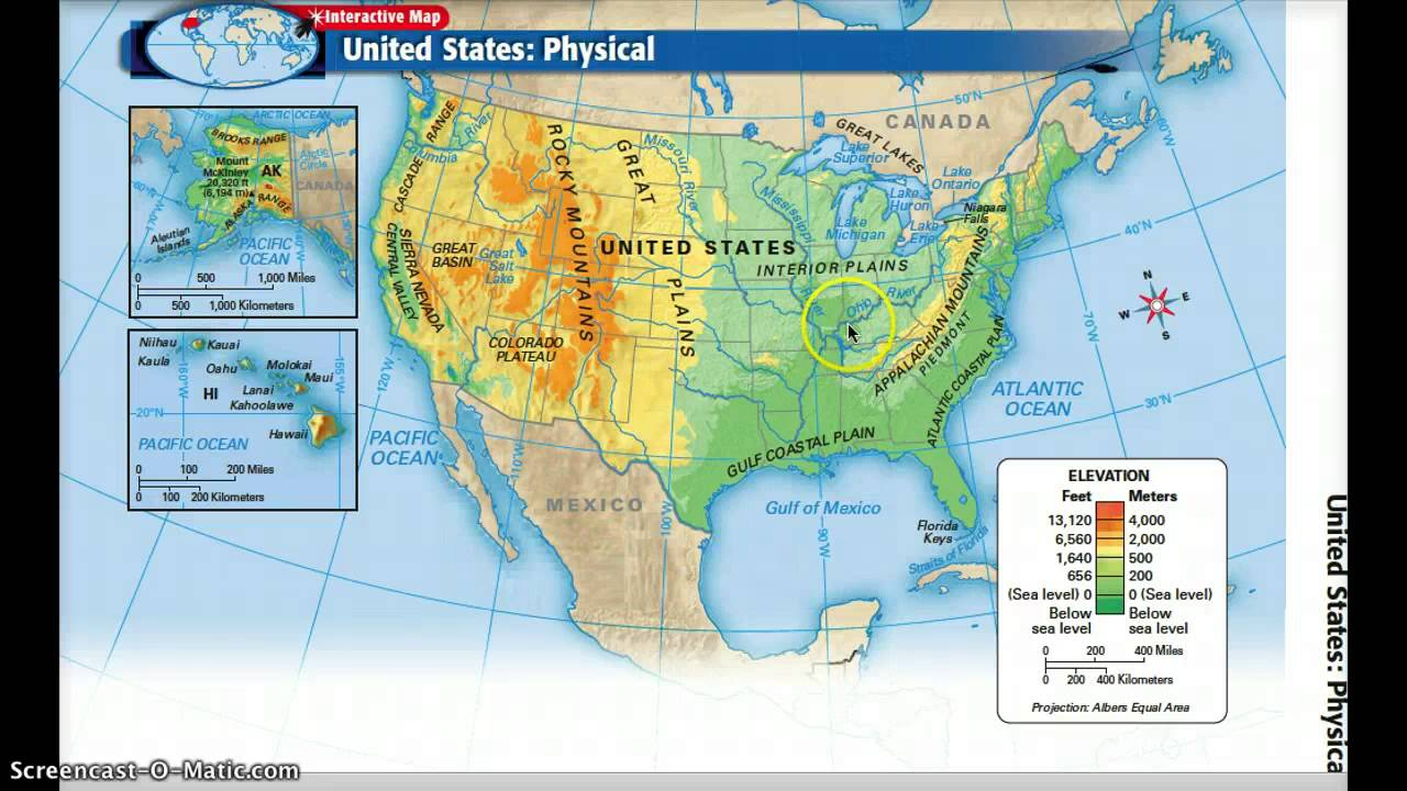 United States Physical Geography YouTube - Physical map of western us