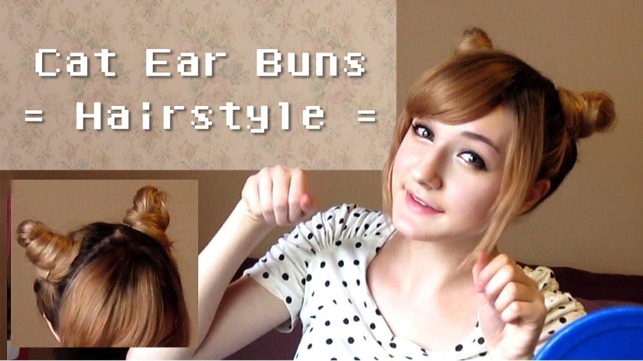 cute cat ear buns hairstyle