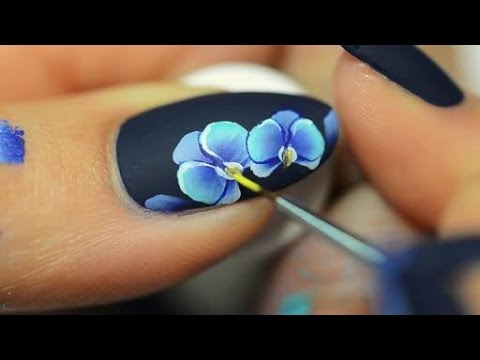 Nail art orchid One Stroke - YouTube