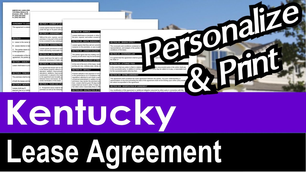 Kentucky Lease Agreement For Rental Property Youtube