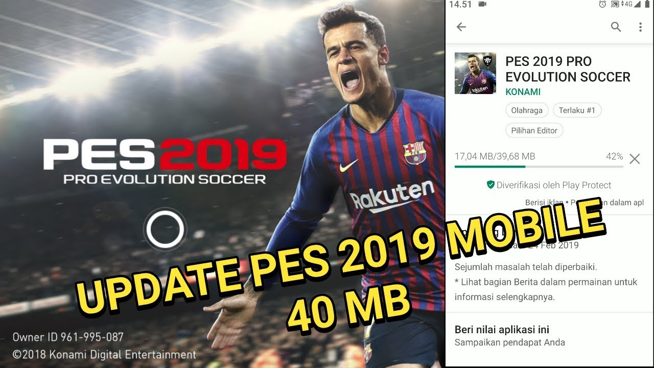 How to update pes 2019 mobile small size 40 mb