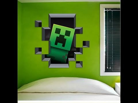 Marvelous 3D Creeper Wall Mural, How To Paint Minecraft Creeper