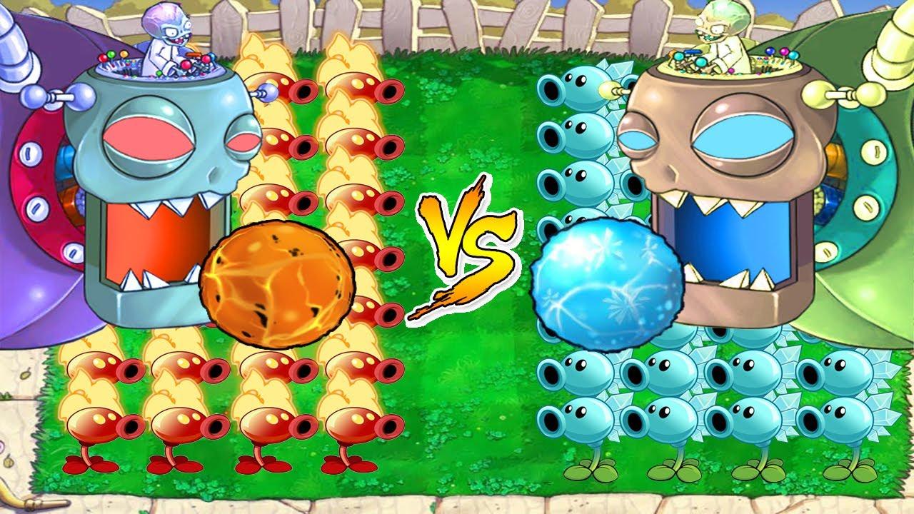 Snow Pea vs Fire Pea vs Zomboss vs Gargantuar   Plants vs Zombies Battlez