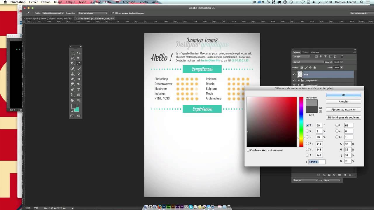 tuto - cr u00e9er un cv graphique    design avec photoshop - formation cc