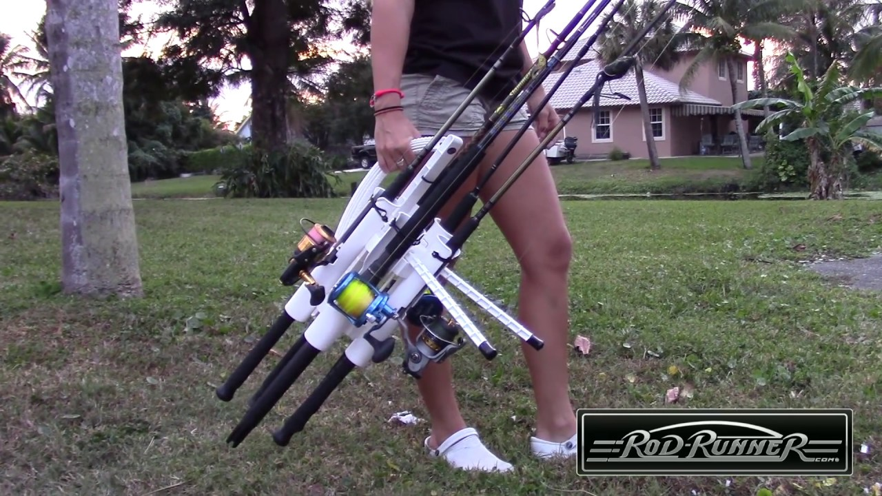 Rod runner portable fishing rod racks starring darcizzle for Fishing rod tote