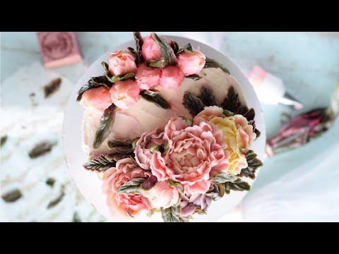 Пионы Vs Тюльпаны из крема. Оформляем торт за час.