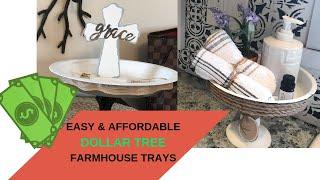 DOLLAR TREE FARMHOUSE TRAYS // DOLLAR TREE FARMHOUSE DIY DECOR // FARMHOUSE KITCHEN & TRINKET TRAYS