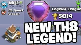 "THE NEWEST TH8 LEGEND LEAGUE PLAYER! - TH8 Trophy Pushing - ""Clash of Clans"""