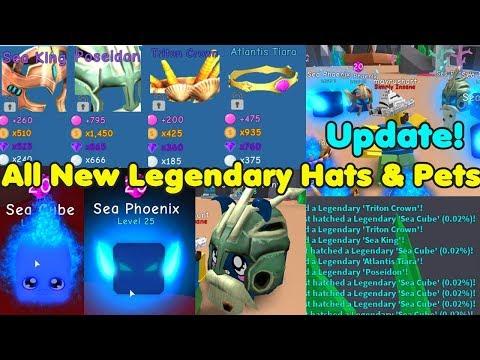 Update! Got All New Legendary pets & Hats! Poseidon hat! Sea Phoenix & Cube! - Bubble Gum Simulator