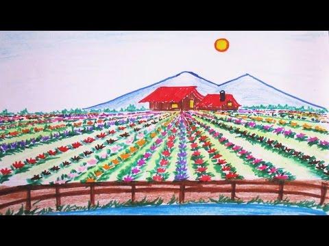 Learn To Draw Spring Scene , Beautiful Flower Field   Scenery Drawing Channel#51