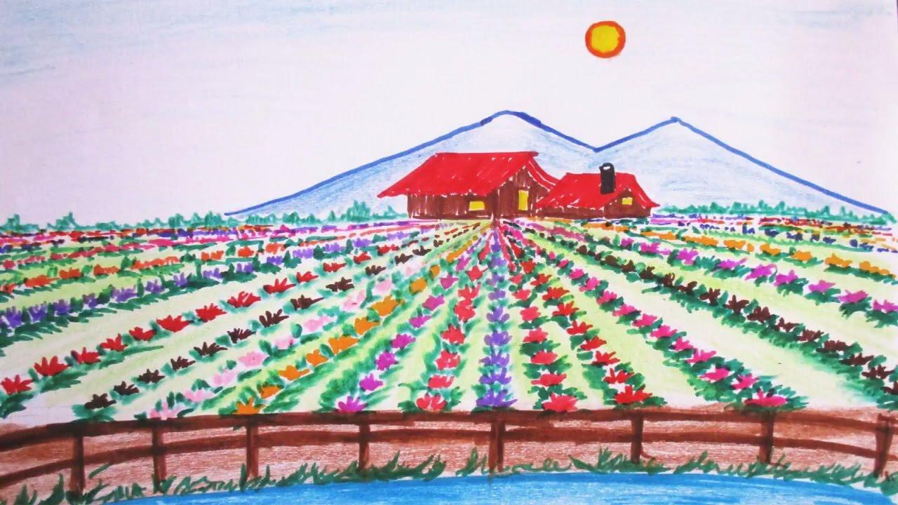 Learn To Draw Spring Scene Beautiful Flower Field Scenery