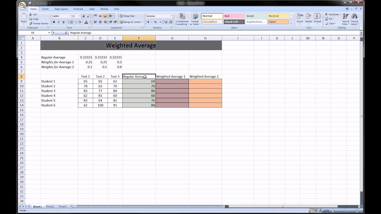 Excel Weighted Average Youtube