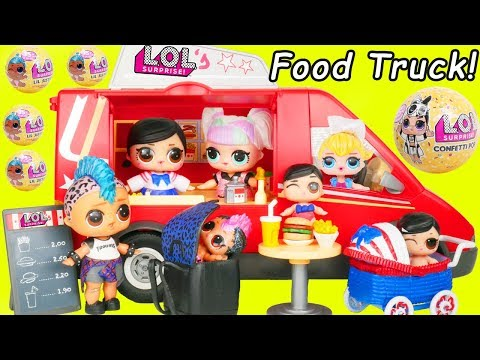 LOL SURPRISE Dolls Open Food Truck at Wedding Pool by Barbie Dreamhouse Adventures Morning Cleaning