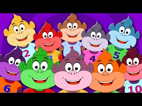 Ten Little Monkeys   Nursery Rhymes   Kids Shows   Videos For Toddlers   Cartoons by Kids Tv